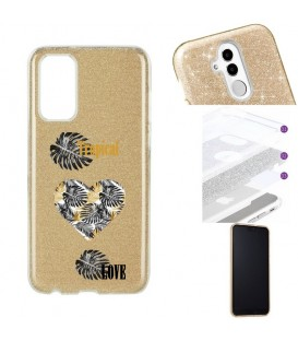 Coque S20 PLUS glitter paillettes dore tropical love coeur