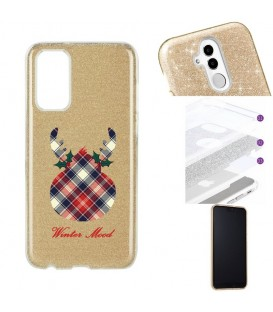 Coque S20 PLUS glitter paillettes winter mood tartan