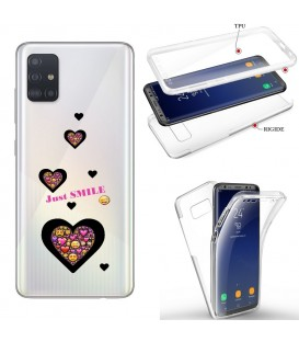 Coque Galaxy S20 PLUS integrale smiley coeur emojii transparente