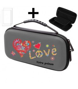 Etui pochette Switch LITE + verre gris personnalisee peace love rouge
