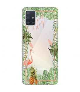 Coque Galaxy A41 Tropical day Flamant Ananas summer Exotique fleur