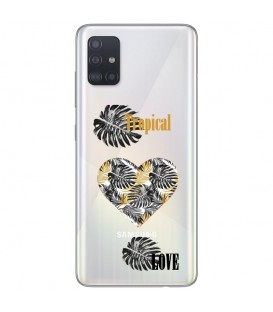 Coque Galaxy A41 tropical love coeur transparente