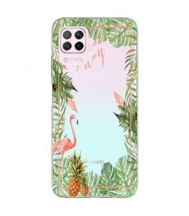 Coque P40 LITE Tropical day Flamant Ananas summer Exotique fleur
