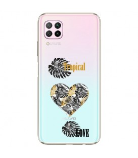 Coque P40 LITE tropical love coeur transparente