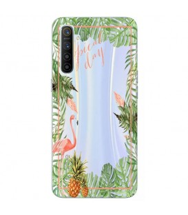 Coque REALME 6 PRO Tropical day Flamant Ananas summer Exotique fleur