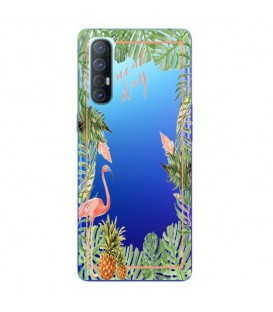 Coque OPPO Find X2 NEO Tropical day Flamant Ananas summer Exotique fleur