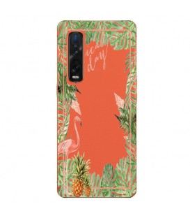 Coque OPPO Find X2 PRO Tropical day Flamant Ananas summer Exotique fleur