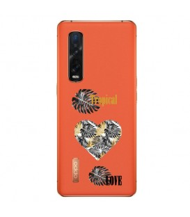 Coque OPPO Find X2 PRO tropical love coeur transparente