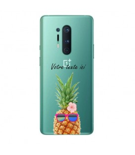 Coque ONEPLUS 8 PRO ananas lunettes personnalisee fleur