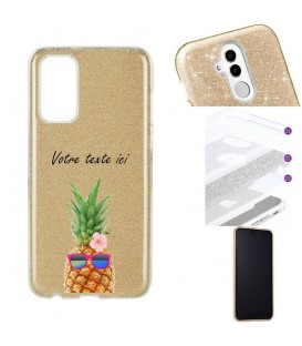 Coque Y5P glitter paillettes dore ananas lunettes personnalisee