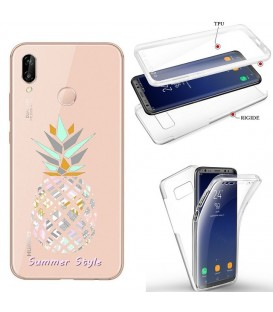Coque P40 LITE E integrale ananas aztec summer tropical exotique transparente