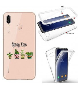 Coque P40 LITE E integrale cactus tropical exotique transparente