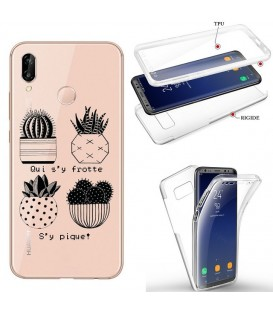 Coque P40 LITE E integrale cactus noir tropical exotique quotes transparente