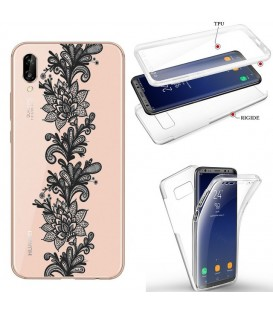Coque P40 LITE E integrale dentelle girly noir transparente