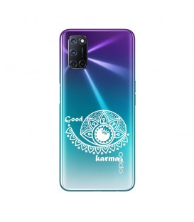 Coque OPPO A72 karma good vibes blanc personnalisee