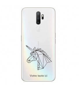 Coque OPPO A5 A9 2020 licorne geo noir personnalisee