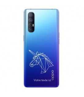 Coque OPPO X2 NEO licorne geo blanc personnalisee