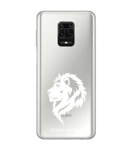 Coque Redmi Note 9 lion blanc personnalisee