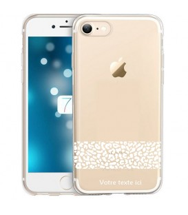 Coque Iphone 6 6S dentelle leopard blanc personnalisee