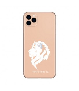 Coque Iphone 11 lion blanc personnalisee