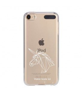 Coque Ipod Touch 5 6 licorne geo blanc personnalisee