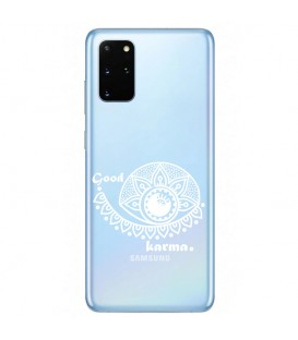 Coque Galaxy A41 karma good vibes blanc personnalisee