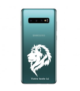 Coque Galaxy S10 PLUS lion blanc personnalisee