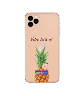 Coque Iphone 12 PRO MAX ananas lunettes personnalisee fleur