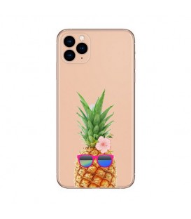 Coque Iphone 12 PRO MAX ananas lunettes tropical fleur
