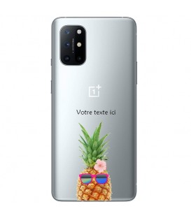 Coque OnePlus 8T ananas lunettes personnalisee fleur