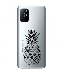 Coque OnePlus 8T ananas noir personnalisee