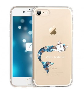 Coque Iphone 7 8 SE 2020 Chat sirene personnalisee