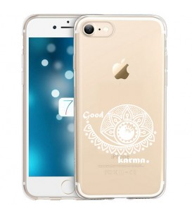 Coque Iphone 7 8 SE 2020 karma good vibes blanc personnalisee