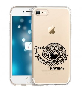 Coque Iphone 7 8 SE 2020 karma good vibes noir personnalisee
