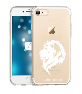 Coque Iphone 7 8 SE 2020 lion blanc personnalisee