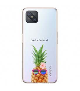 Coque Reno 4Z ananas lunettes personnalisee fleur