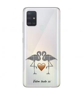 Coque OPPO A53 A53S flamant coeur personnalisee