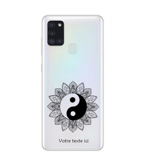 Coque OPPO A53 A53S yin yang noir mandala personnalisee